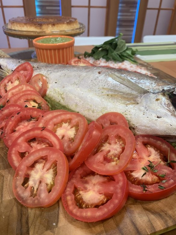 Peixe recheado com creme de espinafre